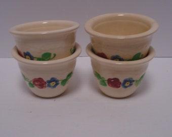 Set of Four Homer Laughlin Oven Serve Embossed Ramekins, Custard Cups, Multi-color Decoration