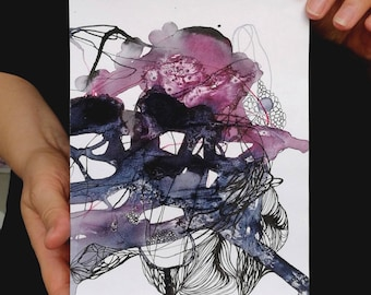 "Wall art Abstract purple wall art dark painting watercolor abstract art Abstract wall art artwork  5 x 7"""