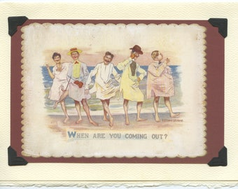 Coming Out? Vintage LGBTQ+ Card - encouragement card, gay bachelor party invitation, gay beach day, ocean trip, gaycation souvenir card