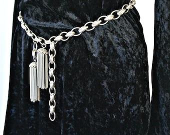 Metal Link Belt Vintage Tassels Gunmetal Silver Heavy