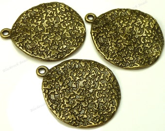 10 Textured Double Sided Flat Round Charm Pendants - Antique Bronze Tone Metal - 19mm - 1 Loop, Dimpled - BK33