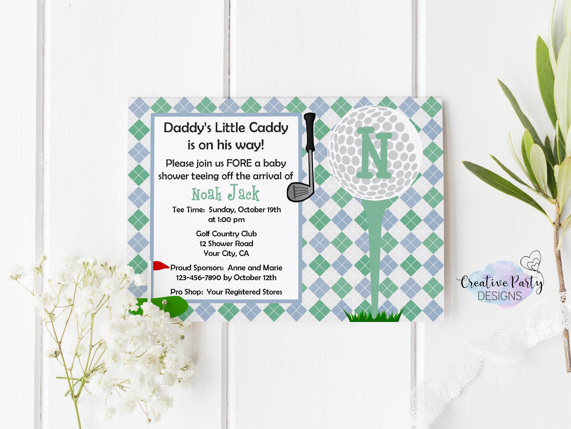 Daddy\'s Little Caddy Baby Shower Invitation Golf Themed