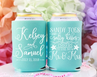 Sandy Toes Salty Kisses Beach Wedding Favors, Cheers New Mr & Mrs Personalized Can Cooler, Summer Wedding Favor, Starfish Wedding, Coast