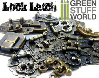 6x BOX LOCKS - Antique Bronze - Ancient Jewelry Box Lock Catch Latches Wooden Box