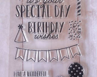 Birthday Clear Cling Stamps By Ms. Sparkle & Co Scrapbooking/Paper Craft Supplies