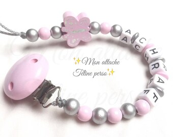 personalized pacifier clip wood beads ~ pink gray Butterfly pattern