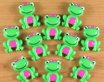 20% OFF Lot 10pcs Girly Frog With Bow Resin Flatbacks Flat Back Scrapbooking Girls Hair Bow Center Boys Crafts Making DIY