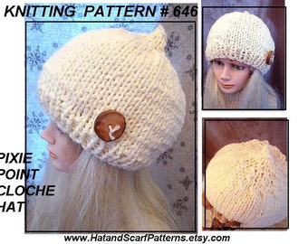 Instant Download Pattern, KNITTING PATTERN, Pixie Point Cloche Hat, age 5 to adult, #646, knitting supplies, pdf tutorial,