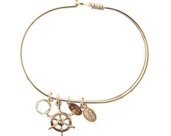 Rose Gold Ship's Wheel Bracelet with Swarovski Crystal