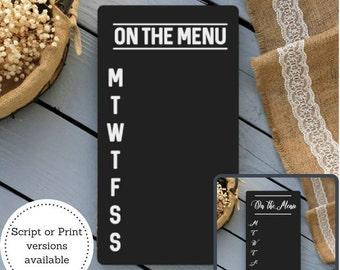 Chalkboard Menu Board - Chalkboard Menu Sign - Chalkboard Kitchen Sign - Chalkboard Menu  - Kitchen Organizer - Chalkboard Sign - Menu Sign
