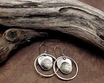 Circle Earrings Hoop Earrings Geometric Earrings Boho Jewelry Bohemian Earrings Silver Earrings Modern Earrings Minimalist Earrings Disc