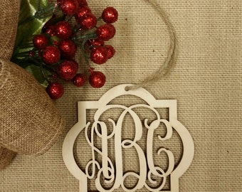 Monogram Ornament - Personalized Christmas Ornament - Wooden Ornament - Personalized Gift Tag
