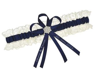 Wedding garter ivory and navy blue