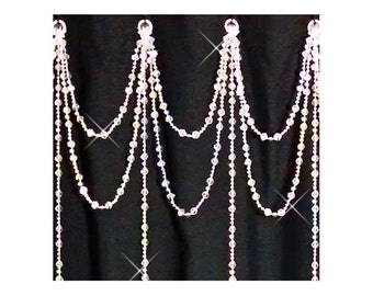 Swarovski Crystal.... Double Swag with long Vertical Strands....Shower Curtain Bling....