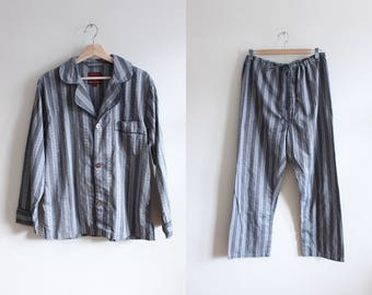 Vintage 1990s Nordstrom Grey Stripe Pajamas Loungewear Set