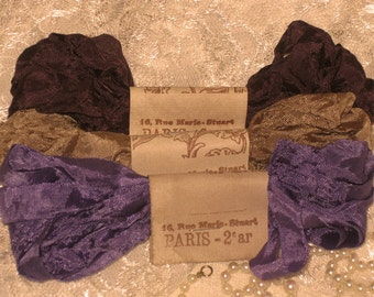 French Inspired Seam Binding Ribbon Distressed and Scrunched  - Cafe Violette - French Marche (SB015)