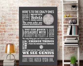 Steve Jobs - Here's to the Crazy Ones - Steve Jobs Quote - Apple Ad - Typography poster print