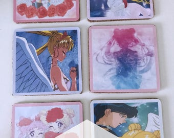 Set of 6 drinks Sailor Moon Coaster-set of 6 coasters Sailor Moon-drink coasters-drinks