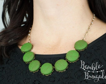 Leafy Green Covered Button Statement Necklace