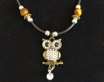 Owl and Swarovski necklace