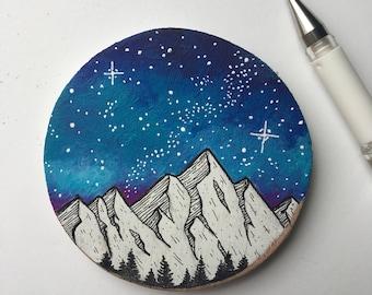 Galaxy Painting, Galaxy Art, Mountain Painting, Wood Slice Painting, Galaxy Wood Painting, Space Painting, Nature Art, Wood Panel Art, Dream