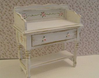 Dollhouse washstand, Tatty Chic washstand, wash stand, white washstand,Twelfth scale, dollhouse miniature