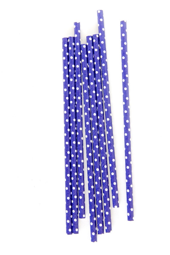 CLOSEOUT SALE Navy and White Small Polka Dot Straws 15 Count
