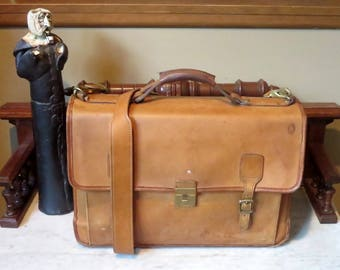 Dads Grads Sale Hartmann Belting Leather Flap Over Briefcase Attache Made In USA- Good Used Condition