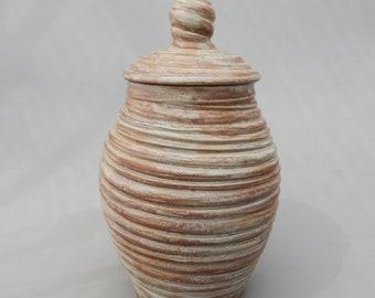 Lidded Pottery Jar, Handmade Mottled Brown Ceramic Urn, Earthenware Decorative Pottery Jar