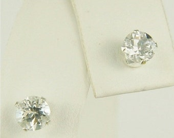 Memorial Day Sale White Topaz Stud Earrings Sterling Silver 5mm Round 1.25ctw Natural Untreated