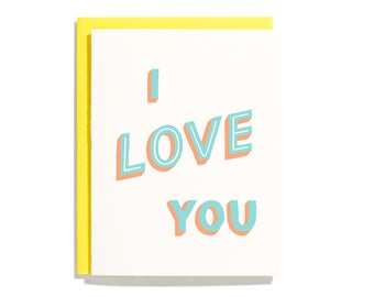 I Love You (Hand Lettered) - Letterpress Love Card - CL279