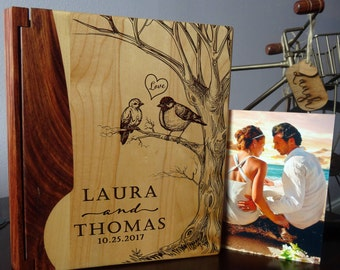 Wedding photo album, Personalized Photo Album, Custom photo album, Custom Wood photo album, Wedding gift, Howsewarming gift  - 127B design