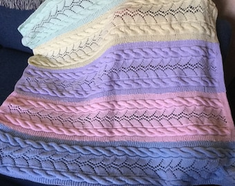Hand Knit, Pastel, Rainbow Striped Baby Afghan