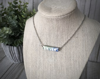Hand Painted Polymer Clay and Resin Blue, Green and Silver Bar Necklace