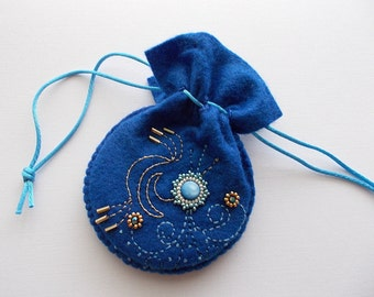 Jewelry Pouch Dark Blue Felt Drawstring Bag with Hand Bead Embroidery and Swirls Handsewn