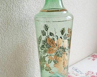 "Vintage Retro Green & Gold Glass Vase 14"" High"