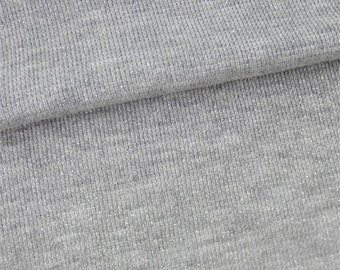 Heather Gray Cotton Blend Sparkle Rib Knit, Fabric By The Yard