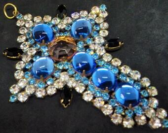 Signed Husar D Cross Pendant... Bright Blue Pink Czech Glass... c.1950s