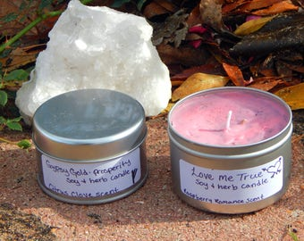LOVE ME TRUE theme Tin Candle Ritual Prayer candle - Fixed, Dressed. - 100% Hand-crafted with soy wax, herbs and oils