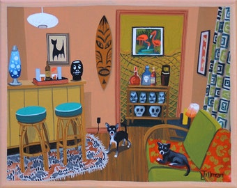 Mid Century Modern Eames Retro Limited Edition Print from Original Painting Tiki Bar Chihuahuas