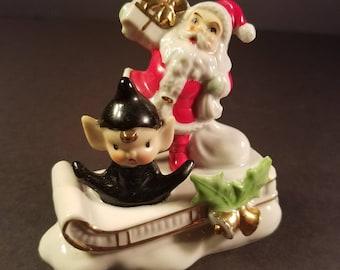 Vintage Porcelain Christmas Decor Santa Elf Sleigh Figurine Japan Black Pixie Collectible Christmas Decoration Home Decor
