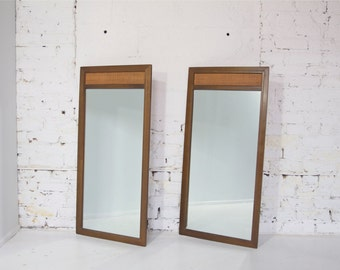 Reserved for Jen - Pair of Mid Century Modern Mirrors - Walnut // Caning Rattan // Mad Men