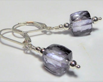 Mystic Purple Quartz and Sterling Earrings