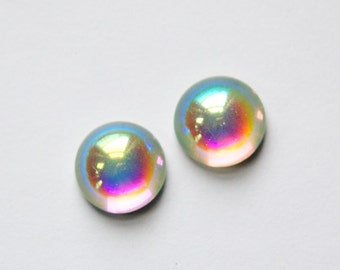 Crystal Clear AB Foiled Glass Cabochons 13mm (4)  cab704AA