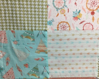 Whimsical Baby Quilt, Girl quilt, Baby quilt, Arrows, Feathers, Dream-catchers Quilt, Baby Shower Gift, Crib/toddler quilt