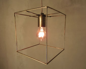 Minimal Cubic Cage Pendant Light Industrial Lamp