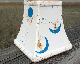 Blue & White Whimsical Bunny Clip-on Lamp Shade