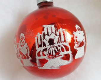 Vintage ornament red ornament glass ball ornament Christmas ornament stencil ornament Joyous Noel ornament choir boys and organ