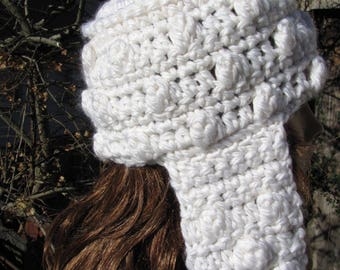 Thick soft wool knitted White Hooded hand crochet scarf