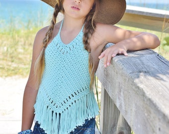 Boho Crochet Halter Top Pattern - Girls Crochet Top Pattern - Crochet Halter Top Pattern Tots Tweens 12 mos - 12 Girls Isabella Halter Top